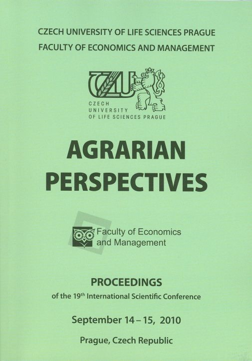 Agrarian Perspectives 2010 - Proceedings of th 19th International Scientific Conference, September 14-15, 2010, Prague, Czech Republic