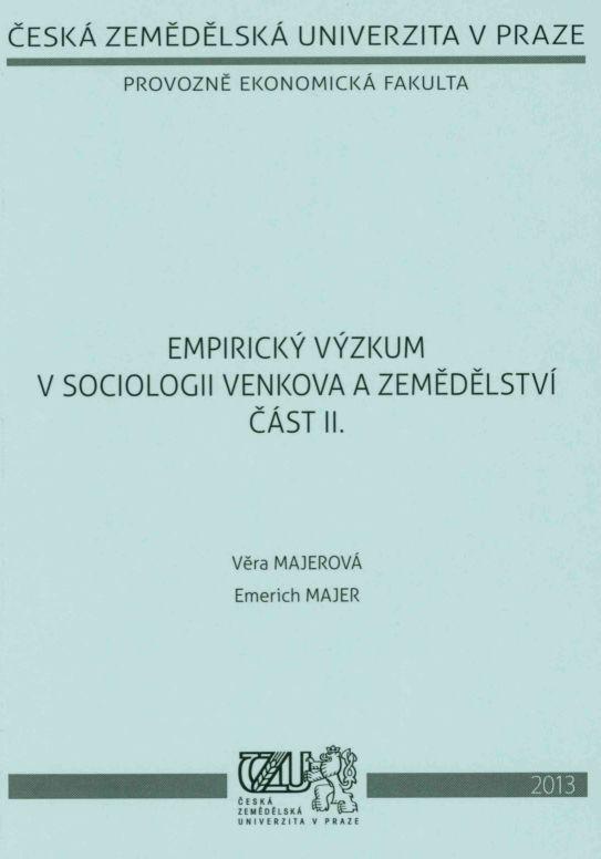 Empirický výzkum v sociologii venkova a zemědělství část II.