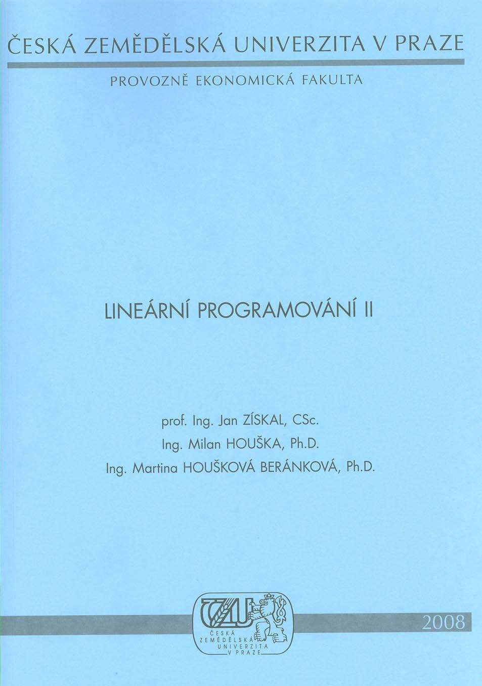 Lineární programování II