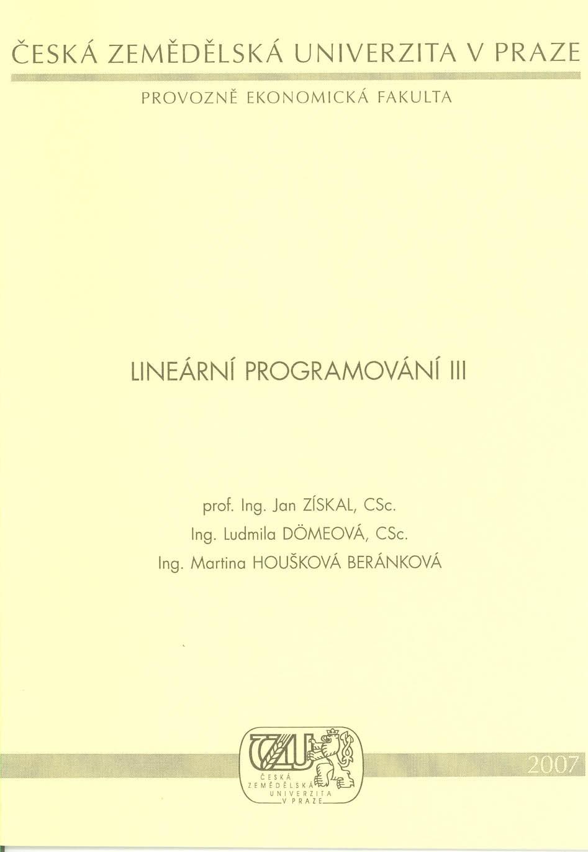 Lineární programování III