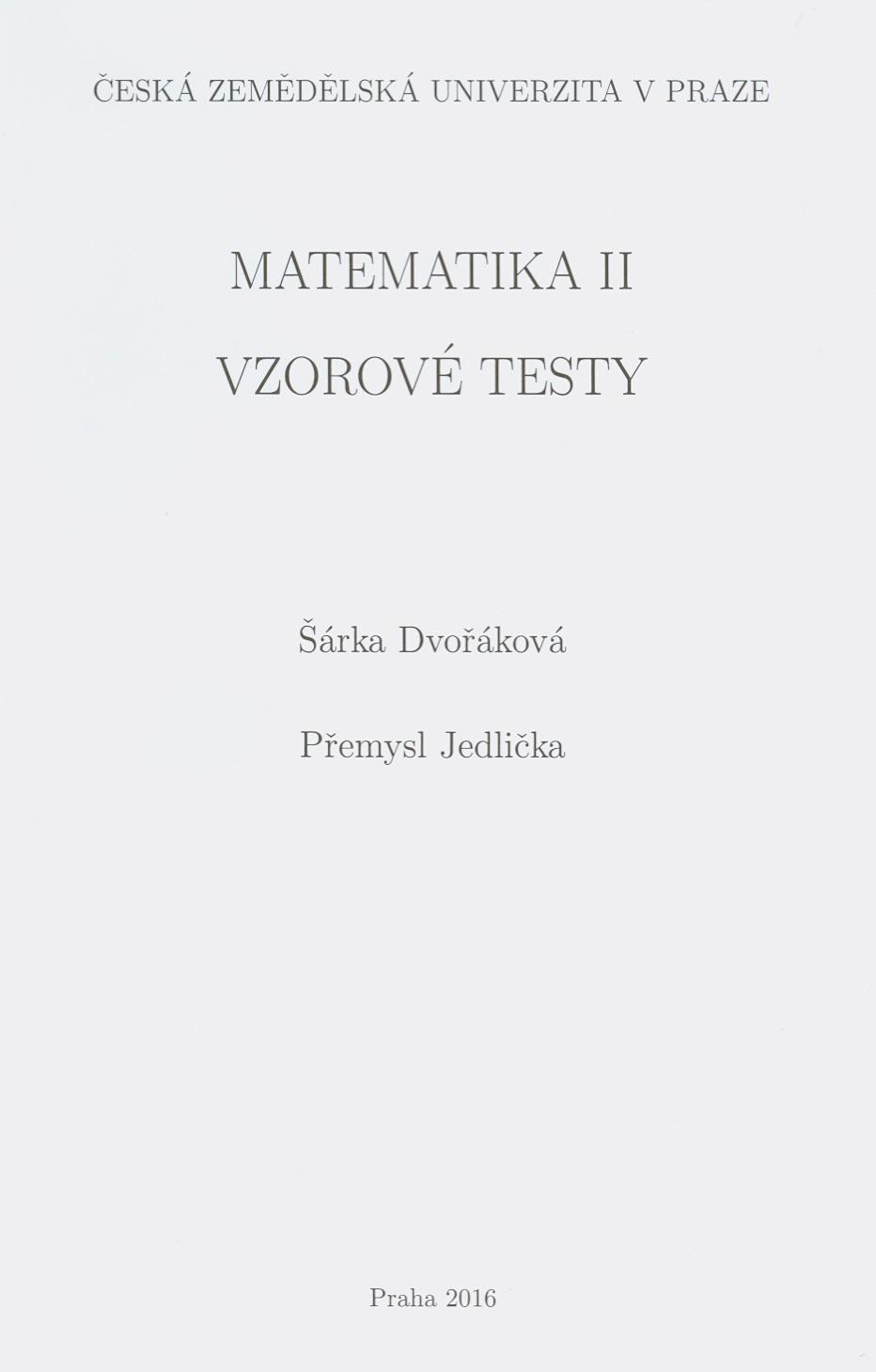 Matematika II - vzorové testy