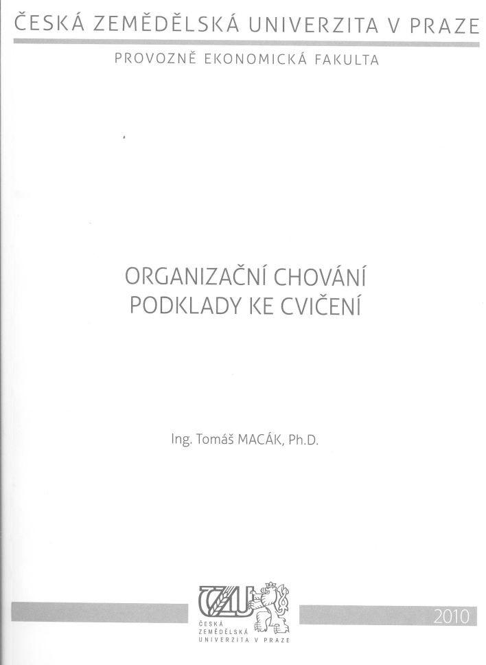 Organizační chování - podklady ke cvičení