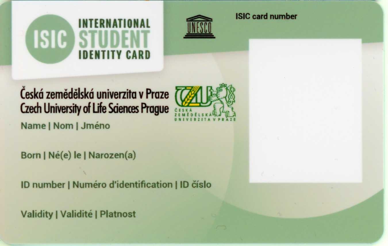 karta Student ČZU / ISIC