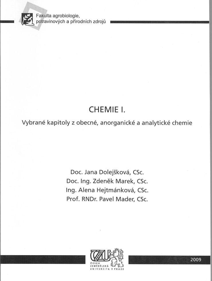 Chemie I. - vybrané kapitoly z obecné, anorganické a analytické chemie