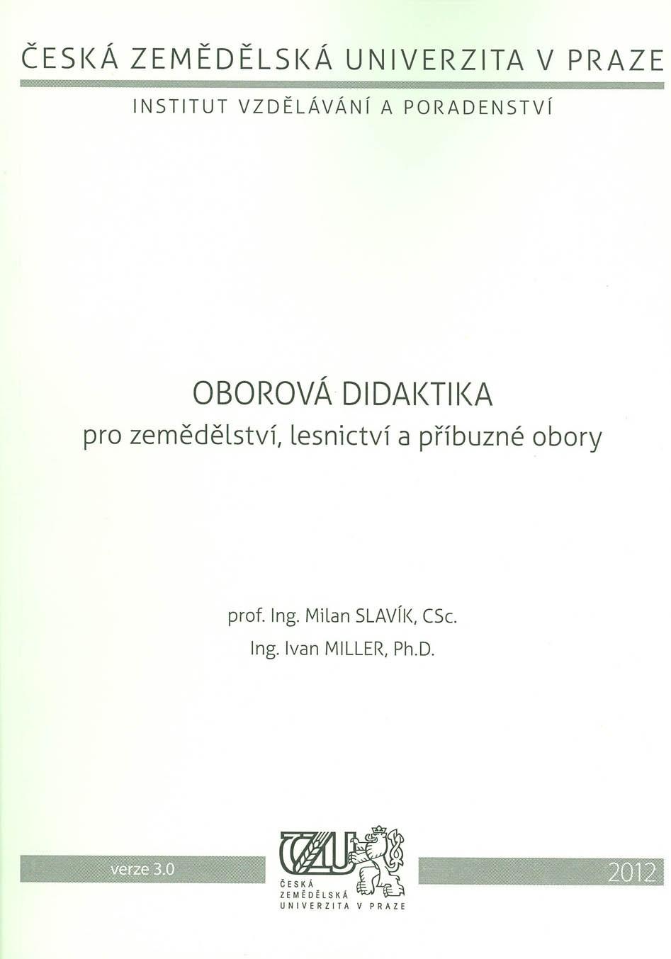 Oborová didaktika pro zemědělství, lesnictví a příbuzné obory
